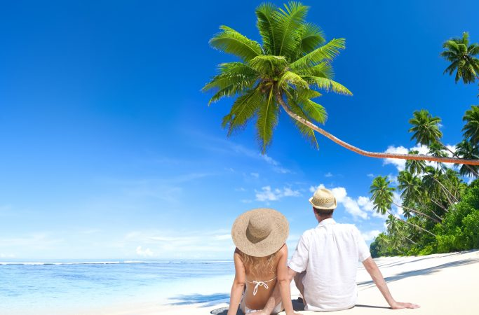Seychellit Silhouette pariskunta