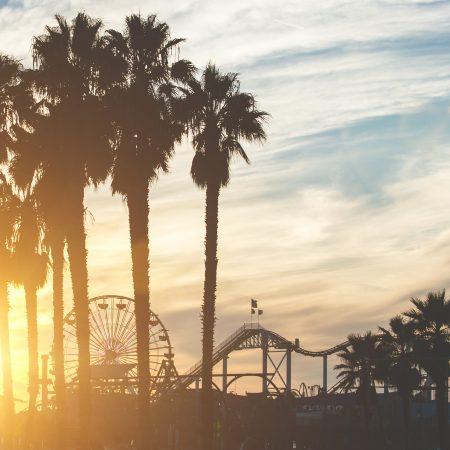 USA Santa Monica ilta-aurinko